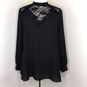 City Chic Black Long Sleeve Blouse